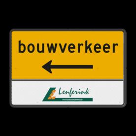 Routebord rechthoek bouwverkeer + logo