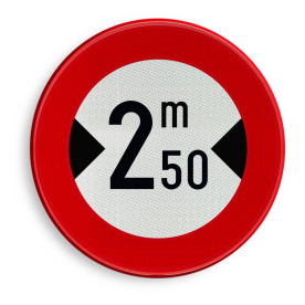 Verkeersbord België C27 - Verboden toegang voor bestuurders van voertuigen waarvan de breedte, lading inbegrepen, groter is dan het aangeduide