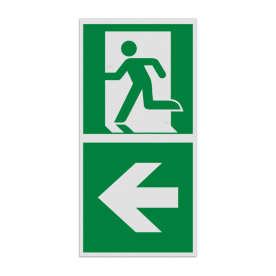 Haaks bord E001 - Nooduitgang links met pijl
