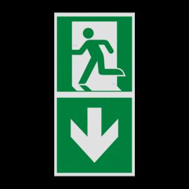 Haaks bord E001 - Nooduitgang naar beneden met pijl