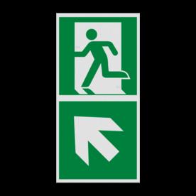 Haaks bord E001 - Nooduitgang links naar boven met pijl