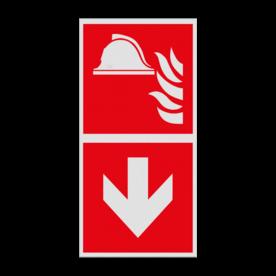 Haaks bord F004 - Richting Brandbestrijdingsmiddelen