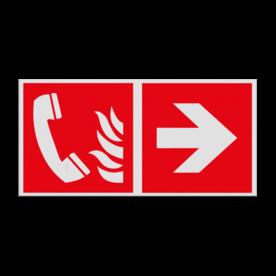 Haaks bord F006 - Richting Telefoon voor brandalarm