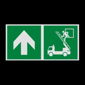 Haaks bord E017 - Vluchtraam zonder brandladder verwijzing
