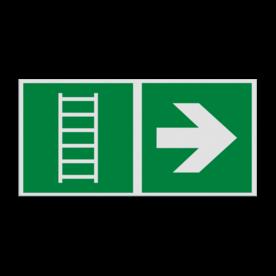Haaks bord E059 - Vluchtladder verwijzing