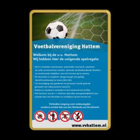 Huisregelbord voetbalveld of sportclub + full colour opdruk