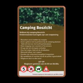 Informatiebord huisregels voor camping / vakantiepark