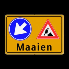 Verkeersbord Maaien - Werk in Uitvoering