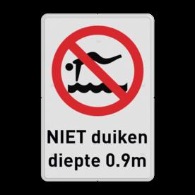 Verbodsbord - verboden te duiken i.v.m. ondiep water
