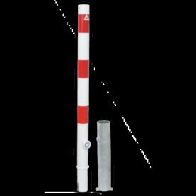 Anti parkeerpaal Ø60mm rood/wit - uitneembaar met grondstuk