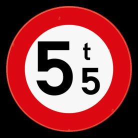 Verkeersbord SB250 C21 - Verboden toegang voor voertuigen met een massa groter dan aangeduid