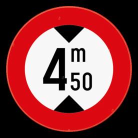 Verkeersbord SB250 C29 - Verboden voor voertuigen hoger dan het aangeduide