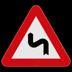 Verkeersbord SB250 A1c - Gevaarlijke dubbele of meer dan twee bochten, de eerste naar links
