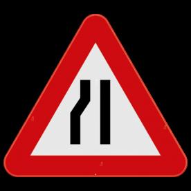 Verkeersbord SB250 A7b - Rijbaanversmalling links