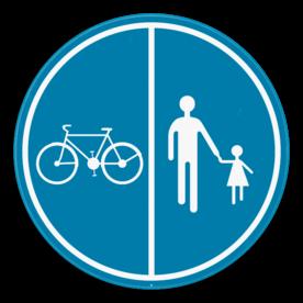 Verkeersbord SB250 D9a - Deel van de weg voorbehouden voor voetgangers en fietsers