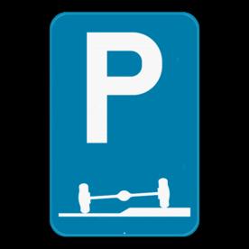 Verkeersbord SB250 E9f - Verplicht parkeren deels op de berm of op het trottoir