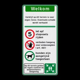 Toegangsbord - Stapvoets rijden - Verboden Toegang - Honden aangelijnd