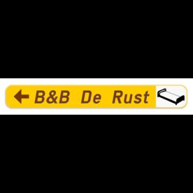 Verkeersbord SB250 F37 -Wegwijzer naar hotels, campings, restaurant - links + picto