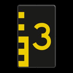 Scheepvaartbord BPR G. 5.1 oneven 600x1000mm - Hoogteschaal geel/zwart