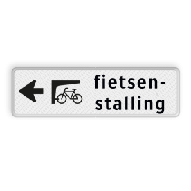Routebord pijl links - fietsenstalling