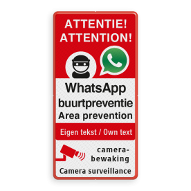 WhatsApp NL+EN ATTENTION - Area prevention - Camera surveillance + own text