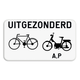 Verkeersbord SB250 M12 - Uitgezonderd fietsers, bromfietsers klasse A en speed pedelecs