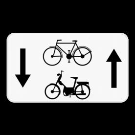 Verkeersbord SB250 M5bis - fietsers, bromfietsers klasse A, B en speed pedelecs mogen in 2 richtingen
