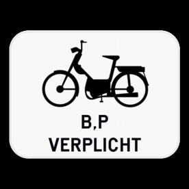 Verkeersbord SB250 M14 - Verplichting bromfietsen klasse B en voor speed pedelecs