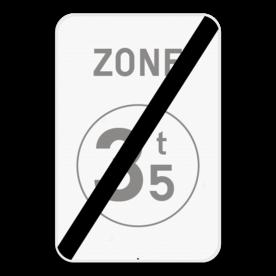 Verkeersbord SB250 ZC21/ - Einde zone verboden toegang voor bestuurders van voertuigen waarvan de massa hoger is dan de aangeduide massa