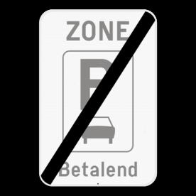 Verkeersbord SB250 ZE9aT/ - Einde zone parkeren uitsluitend voor auto's