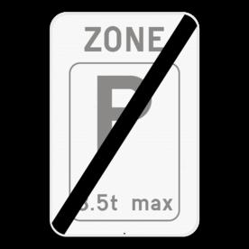 Verkeersbord SB250 ZE9T/ - Einde zone parkeren voor voertuigen met een uitzondering