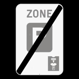 Verkeersbord SB250 ZE9a parkeerschijf/ - Einde zone parkeren beperkt in tijd, parkeerschijf verplicht