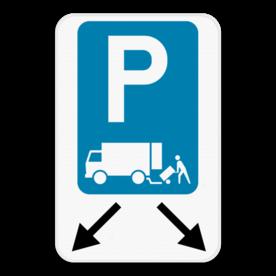 Parkeerbord Laden en lossen + pijlaanduiding