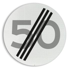 Verkeersbord RVV A02-00 vrij invoerbaar - Einde maximum snelheid