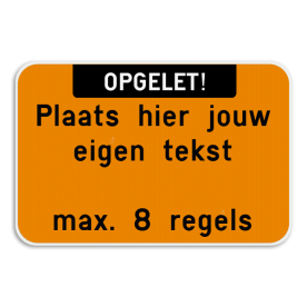 Tekstbord landscape met boventekst - wit/fluo oranje