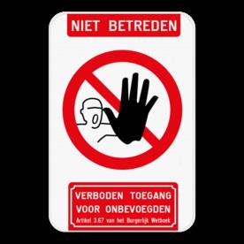 Bord Niet betreden verboden toegang artikel 87,8