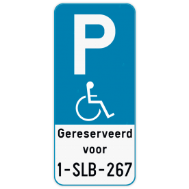 Parkeerbord E9 mindervaliden + eigen tekst + Nummerplaat