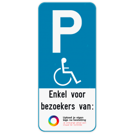 Parkeerbord E9 mindervaliden - Eigen tekst - Eigen logo