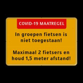 Tekstbord Covid-19 Maatregel - Fietsers houd afstand