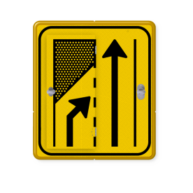 Verkeersbord WIU geel/zwart T32-2l/r - klapbord