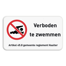 Verkeersbord - Verboden te zwemmen met ondertekst