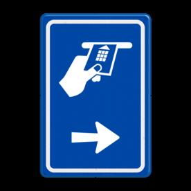Verkeersbord RVV BW112 - Betaaldautomaat met aanpasbare pijlrichting