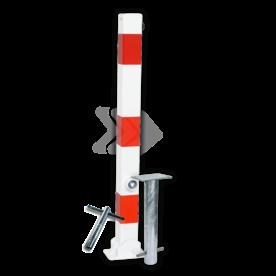 Parkeerpaal 70x70mm rood wit - neerklapbaar met grondstuk