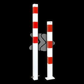 Parkeerpaal 70x70mm rood wit - vast met grondanker of bodemmontage