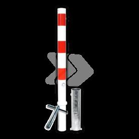 Parkeerpaal Ø60-76mm rood wit - uitneembaar met grondstuk
