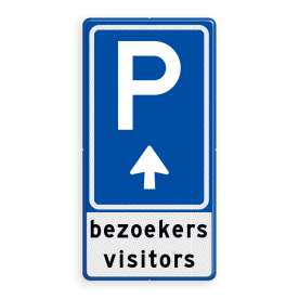 Parkeerbord BW201 met eigen tekst en pijl