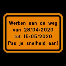 Verkeersbord SB250 F39 - Eigen tekst