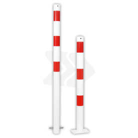 Afzetpaal rond Ø60-108mm rood wit - vaste uitvoering met grondanker