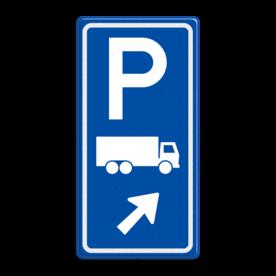 Parkeerroutebord E8c vrachtwagens met aanpasbare pijl