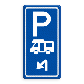 Parkeerroutebord E8n camper met aanpasbare pijl